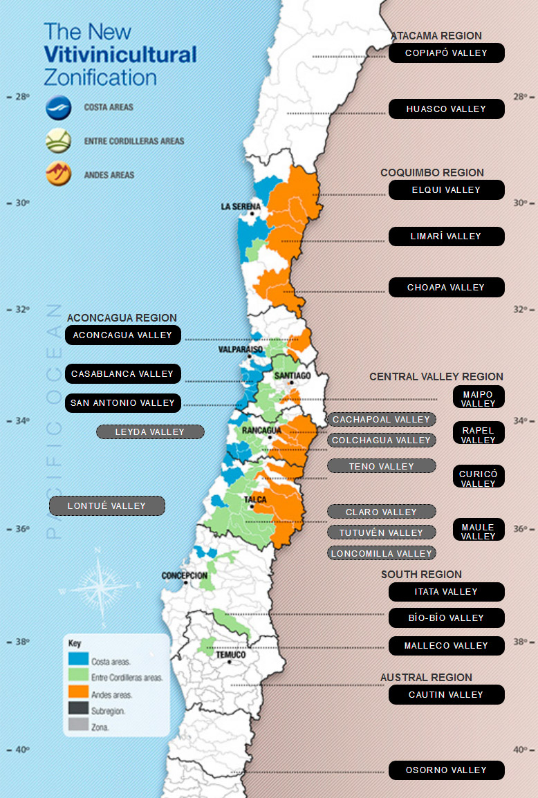 Mapa vin�cola do Chile